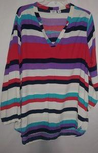 Cato Pretty Summer Striped Tunic Sz L